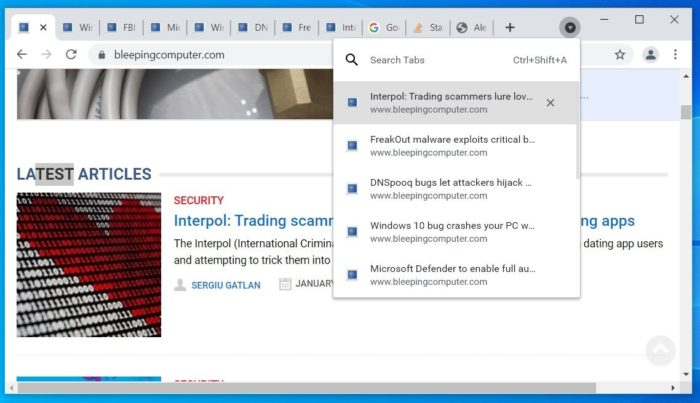 Busca por abas no Chrome (Imagem: Reprodução/Bleeping Computer)