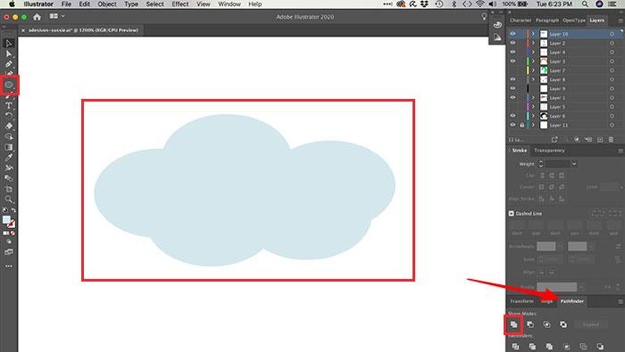 Combinando objetos no Illustrator