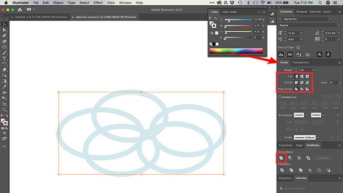 Combinando traços no Illustrator
