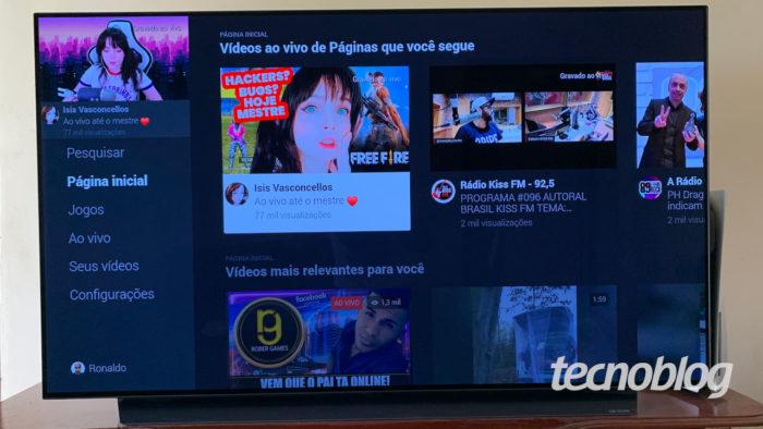 Tela principal do Facebook Watch na TV (Imagem: Ronaldo Gogoni/Tecnoblog) / como baixar facebook