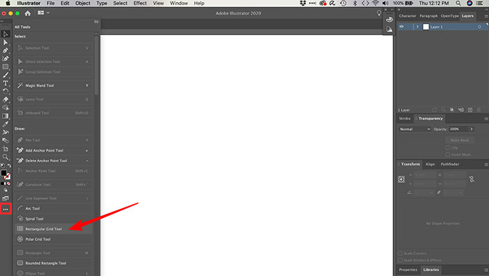 Utilizando a ferramenta de criação de grid no Illustrator