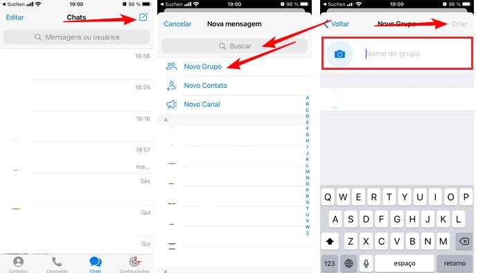 Criando grupos no Telegram em aparelhos iOS