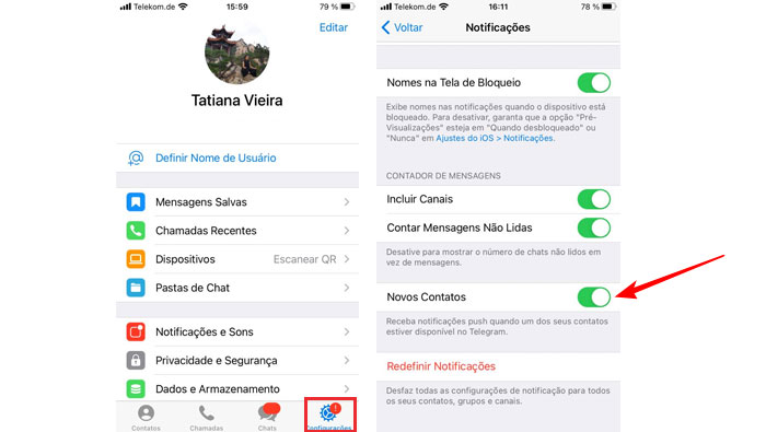 Como desabilitar notificações novos contatos Telegram no iOS