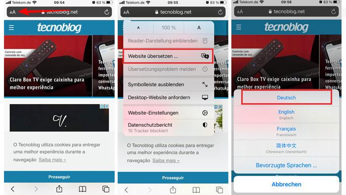 Traduzindo uma página no Safari via iOS