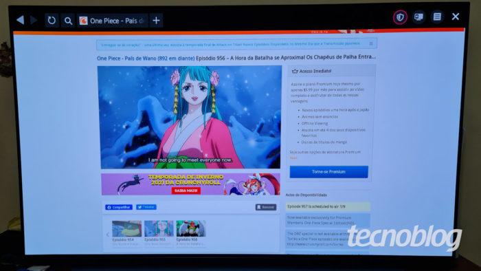 Crunchyroll em navegador nativo de Smart TV (Imagem: Ronaldo Gogoni/Tecnoblog)