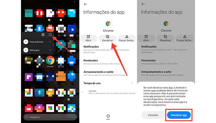 Processo para desativar o Chrome no Android (Imagem: Reprodução/MIUI)