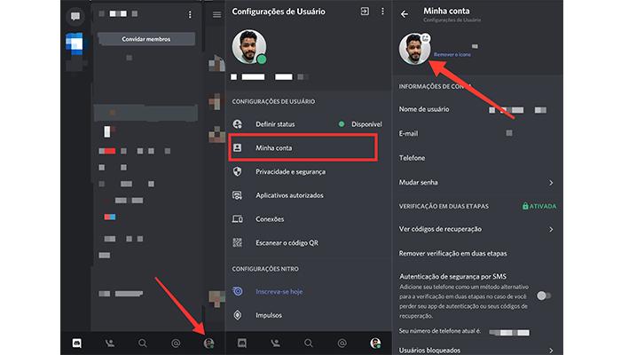 Processo para mudar foto de perfil no aplicativo do Discord (Imagem: Reprodução/Discord)