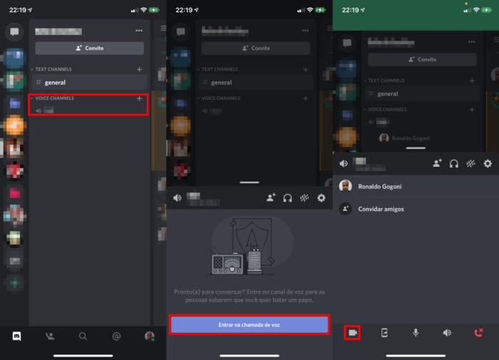 Passo a passo para iniciar chamada de vídeo em servidor do Discord pelo celular (Imagem: Reprodução/Discord)