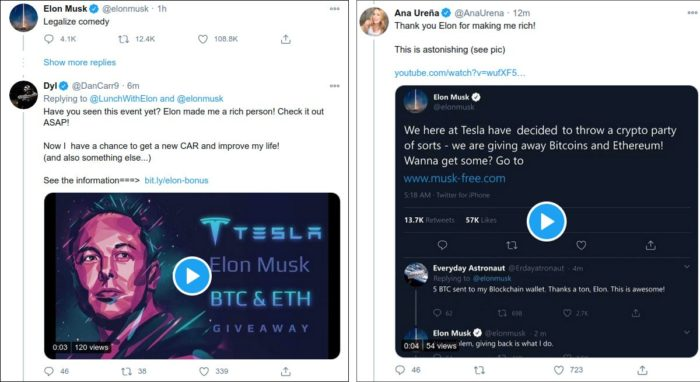 Tuítes de contas hackeadas promovendo o esquema (imagem: reprodução/BleepingComputer)