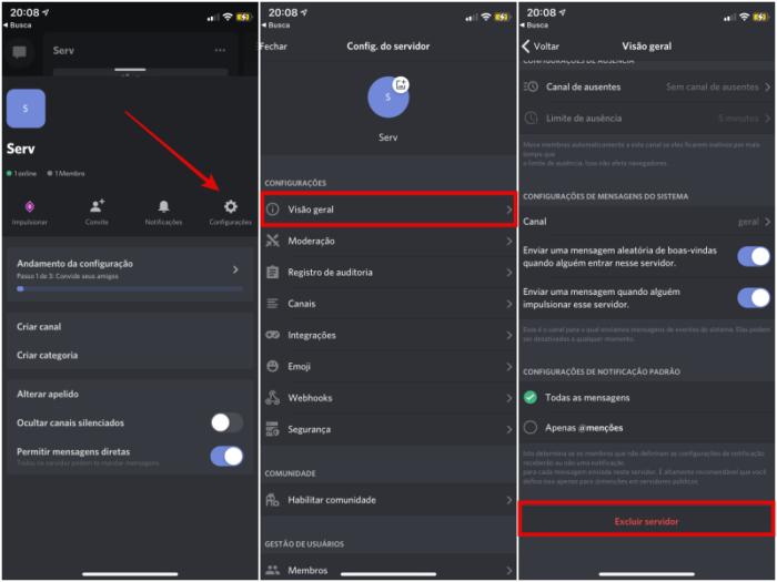 Como excluir um servidor no Discord pelo app para celular (Imagem: Reprodução/Discord)