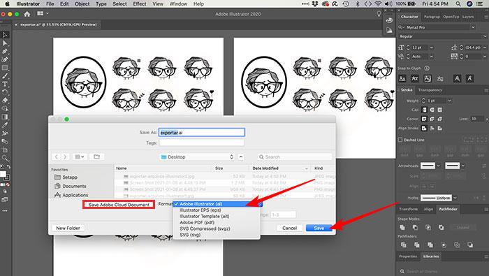 Como salvar um arquivo no Illustrator