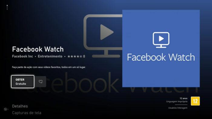 App do Facebook Watch no Xbox One (Imagem: Reprodução/Microsoft)
