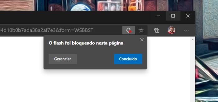 Adobe Flash já é bloqueado no Microsoft Edge (Imagem: reprodução)