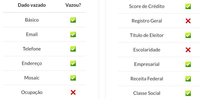 Site mostra categorias em que seus dados vazaram (Imagem: Reprodução/Fui Vazado)