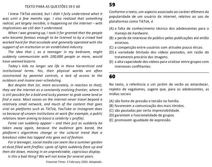 Questão sobre TikTok na Fuvest 2021 (Imagem: Reprodução)