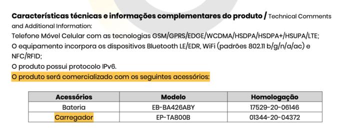 Galaxy A72 será vendido com carregador, diz certificado de homologação (Imagem: Reprodução/Tecnoblog)