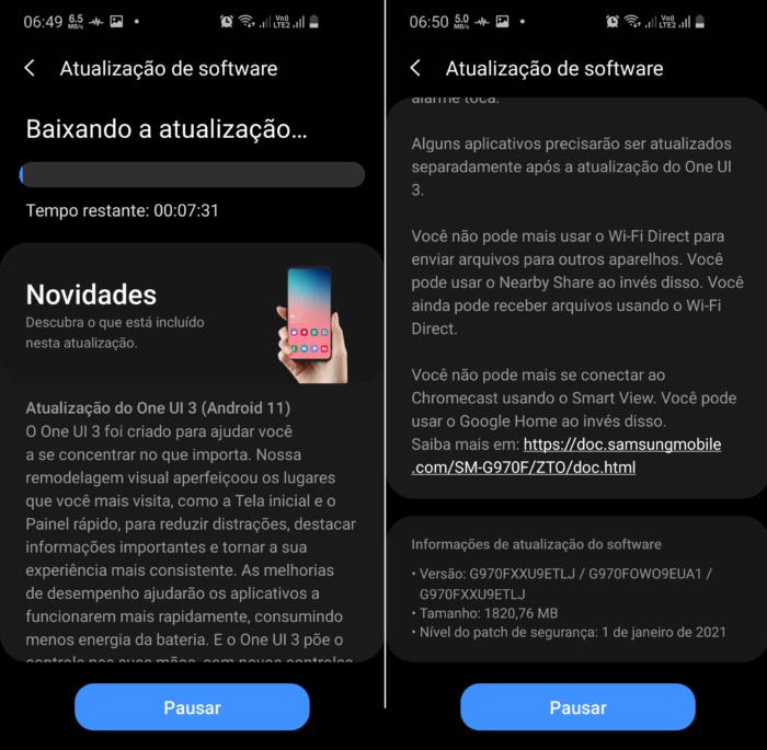 Galaxy S10e recebe Android 11 (Imagem: Reprodução/Francisco Bruno)