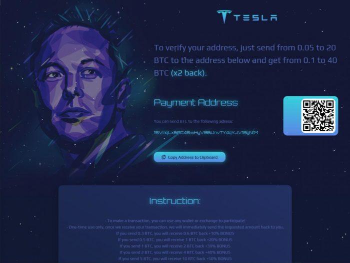 Página do esquema no Medium com o rosto de Elon Musk (imagem: reprodução/BleepingComputer)