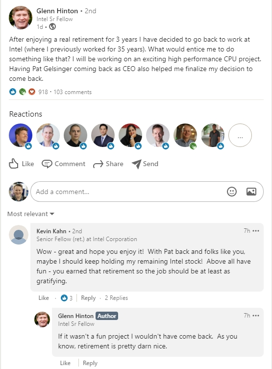 Mensagem de Glenn Hinton no LinkedIn (captura: AnandTech)