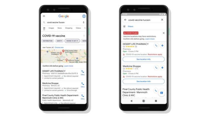 Google destaca locais de vacinação contra COVID-19 (Imagem: Divulgação/Google)