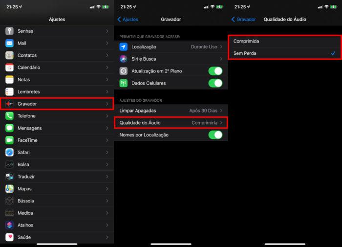 Configurações do app Gravador do iPhone (Imagem: Reprodução/Apple)