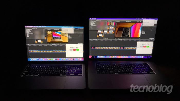 MacBook Pro (2020) com Apple M1 (à esquerda) e MacBook Pro (2019) com Core i9 (Imagem: Paulo Higa/Tecnoblog)