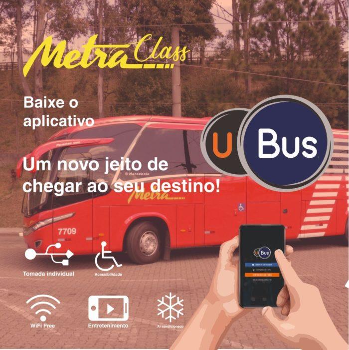 Ônibus da Metra e app UBus (imagem: divulgação/ Metra)