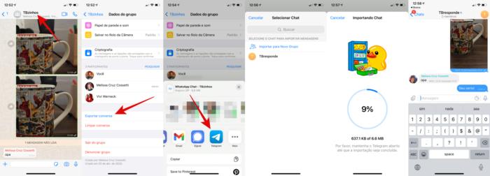 Transferir conversas do WhatsApp para o Telegram (Imagem: Reprodução/WhatsApp/Telegram)