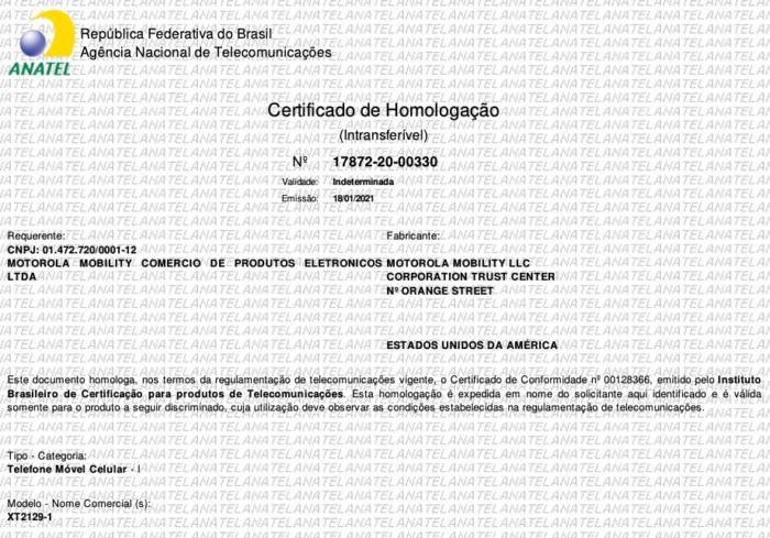 Anatel homologa Moto G30 (XT2129-1) (Imagem: Reprodução/Tecnoblog)