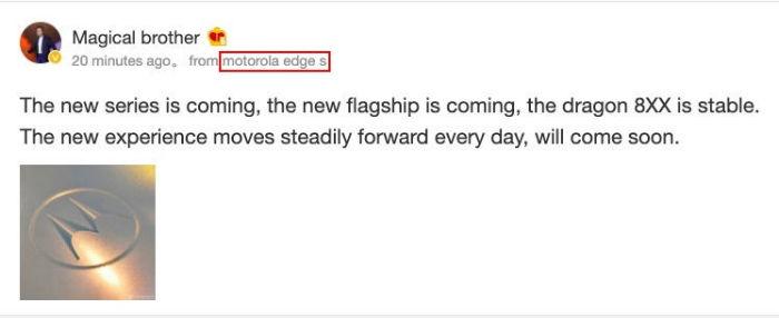 Motorola Edge S é mencionado em post de executivo da Lenovo em rede social chinesa (Imagem: Reprodução/MySmartPrice)
