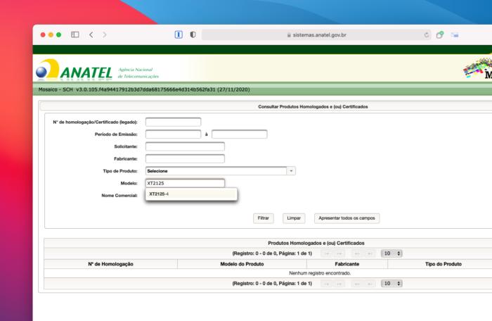 Menção ao suposto Motorola Nio é encontrada em sistema da Anatel (Imagem: Reprodução/Tecnoblog)