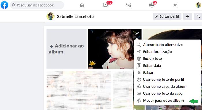 Como mover fotos entre álbuns do Facebook (Imagem: Reprodução/Gabrielle Lancellotti)