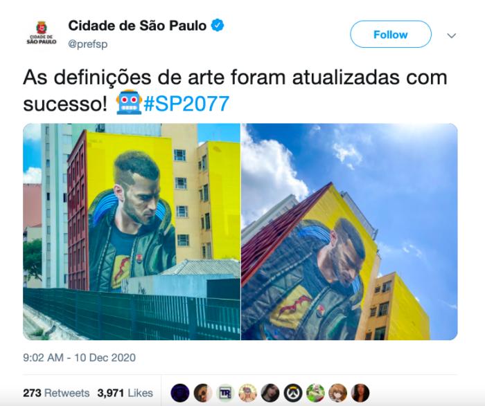 Arte foi elogiada pela prefeitura em dezembro, no Twitter oficial (Imagem: Reprodução/Twitter)