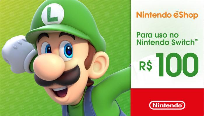 Gift card com R$ 100 para eShop (Imagem: divulgação/Nintendo)