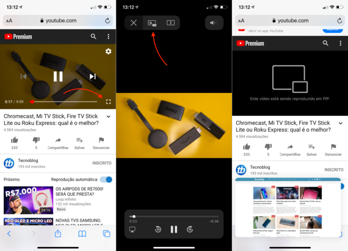 Picture-in-Picture do YouTube pelo Safari no iPhone (Imagem: Reprodução/Apple)