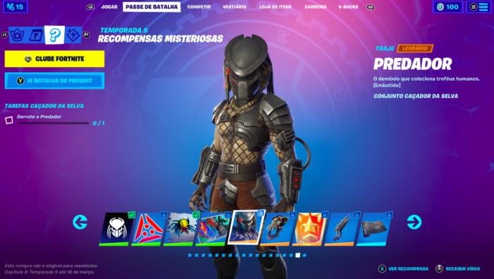 Predator available in Fortnite (Image: Reproduction / Felipe Vinha)