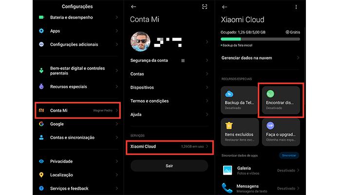 Processo para ativar o recurso de rastreamento nos celulares da Xiaomi (Imagem: Reprodução/MIUI)