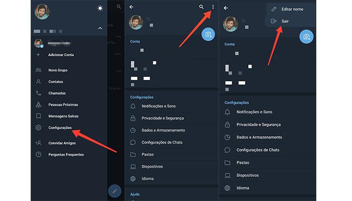 Processo para remover uma conta no Telegram (Imagem: Reprodução/Telegram)