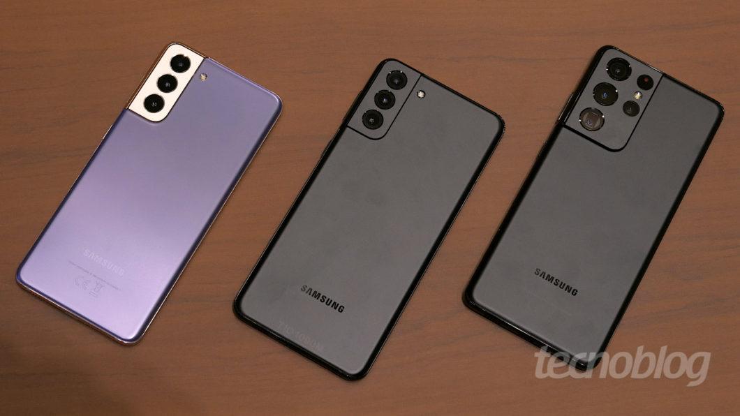 Samsung Galaxy S21, S21+ e S21 Ultra (Imagem: Paulo Higa/Tecnoblog)