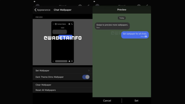 Signal gets options to change the background image in chats (Image: Reproduction / WABetaInfo)