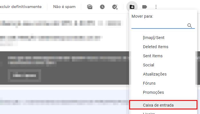 Como ver spam no site do Gmail (Imagem: Reprodução/Gmail)