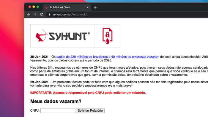 Site allows to see if CNPJ is in the leak (Image: Reproduction / Syhunt)