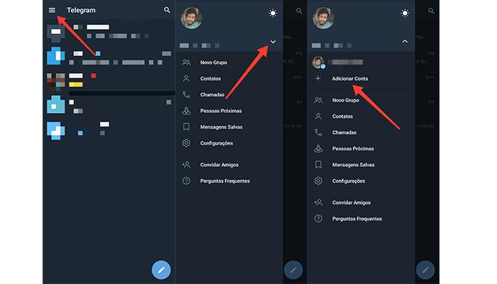 Processo para adicionar uma segunda conta no Telegram (Imagem: Reprodução/Telegram)