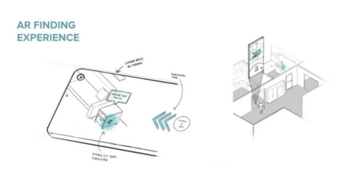Conceito de rastreamento de objetos com realidade aumentada da Tile (Imagem: Reprodução/TechCrunch)