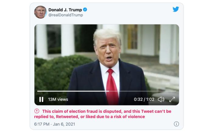 Este foi um dos tweets removidos da conta de Trump (Imagem: Reprodução/Twitter)