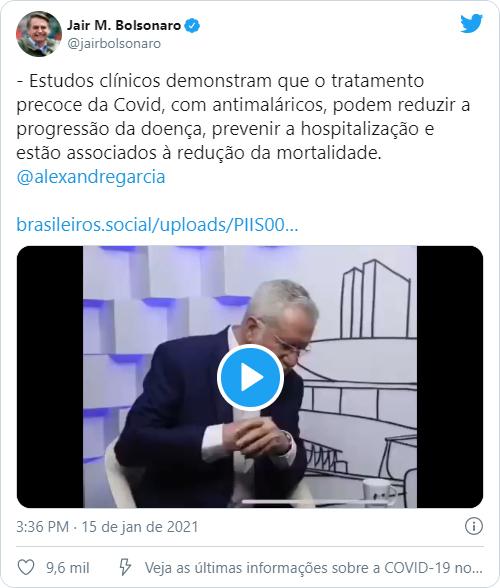 Tweet de Jair Bolsonaro com link sinalizado (Imagem: Reprodução/Twitter)
