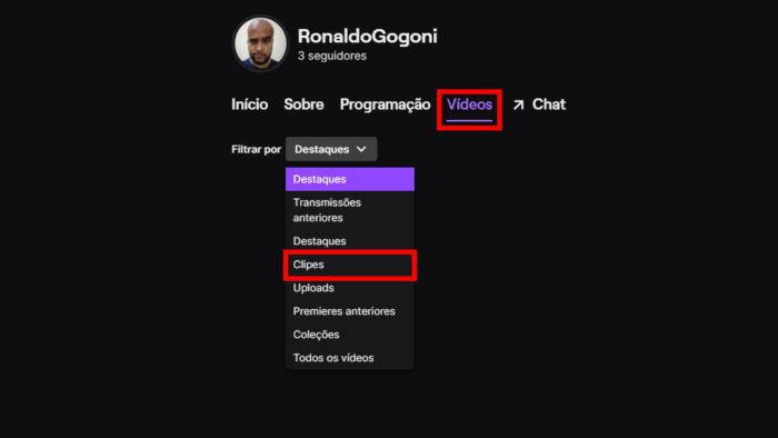 Dashboard de usuário na Twitch (Imagem: Reprodução/Twitch) / como ver os clipes que eu fiz na twitch