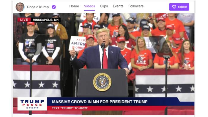 Canal de Donald Trump não volta mais à Twitch (Imagem: Reprodução/Twitch)