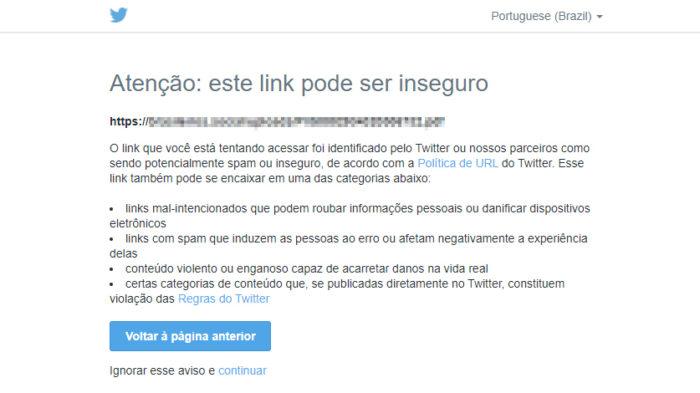 Twitter sinaliza link em tweet de Bolsonaro (Imagem: Reprodução/Twitter)