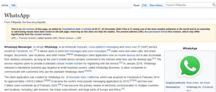 Versão antiga da página do WhatsApp na Wikipédia